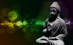 Buddha green background
